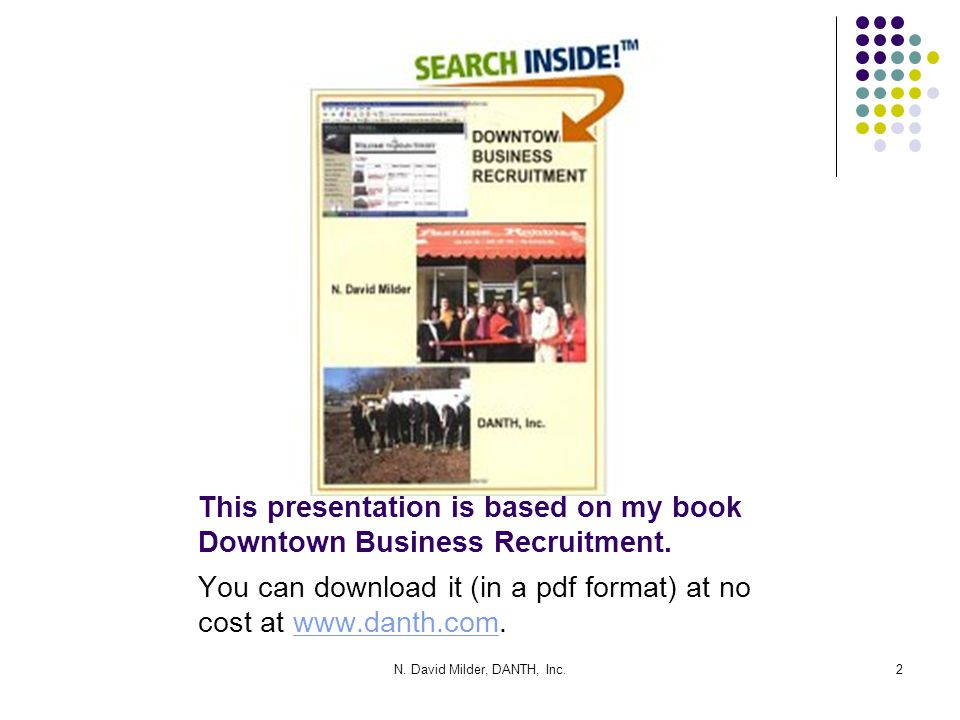 This presentation is based on my book Downtown Business Recruitment.