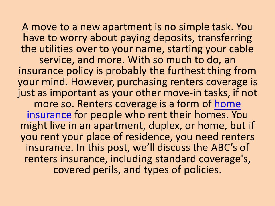 A move to a new apartment is no simple task. You have to worry about paying deposits, transferring the utilities over to your name, starting your cabl