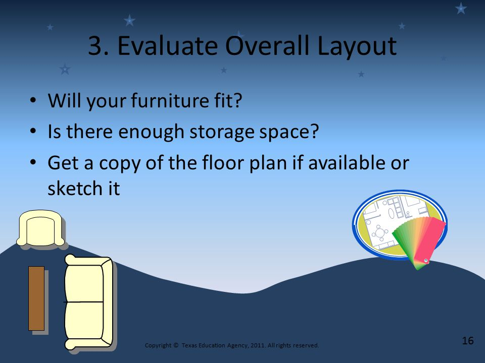 3. Evaluate Overall Layout Will your furniture fit.