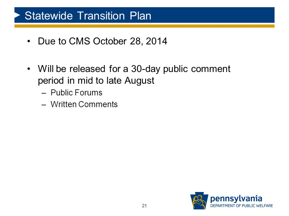 Statewide Transition Plan Due to CMS October 28, 2014 Will be released for a 30-day public comment period in mid to late August –Public Forums –Written Comments 21