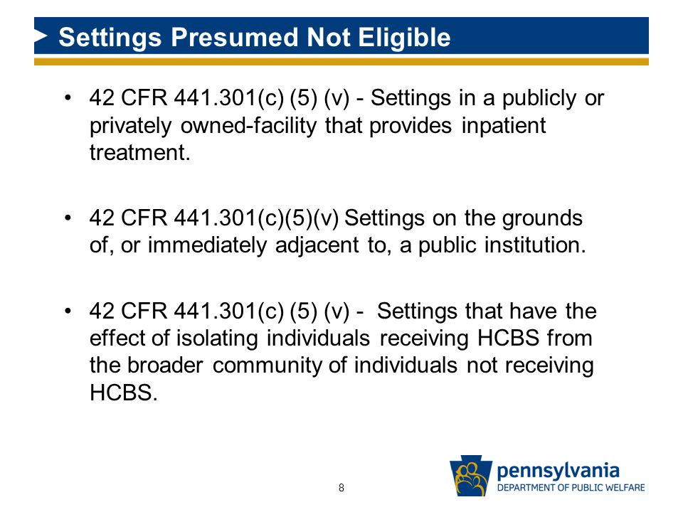 42 CFR 441.301(c) (5) (v) - Settings in a publicly or privately owned-facility that provides inpatient treatment.