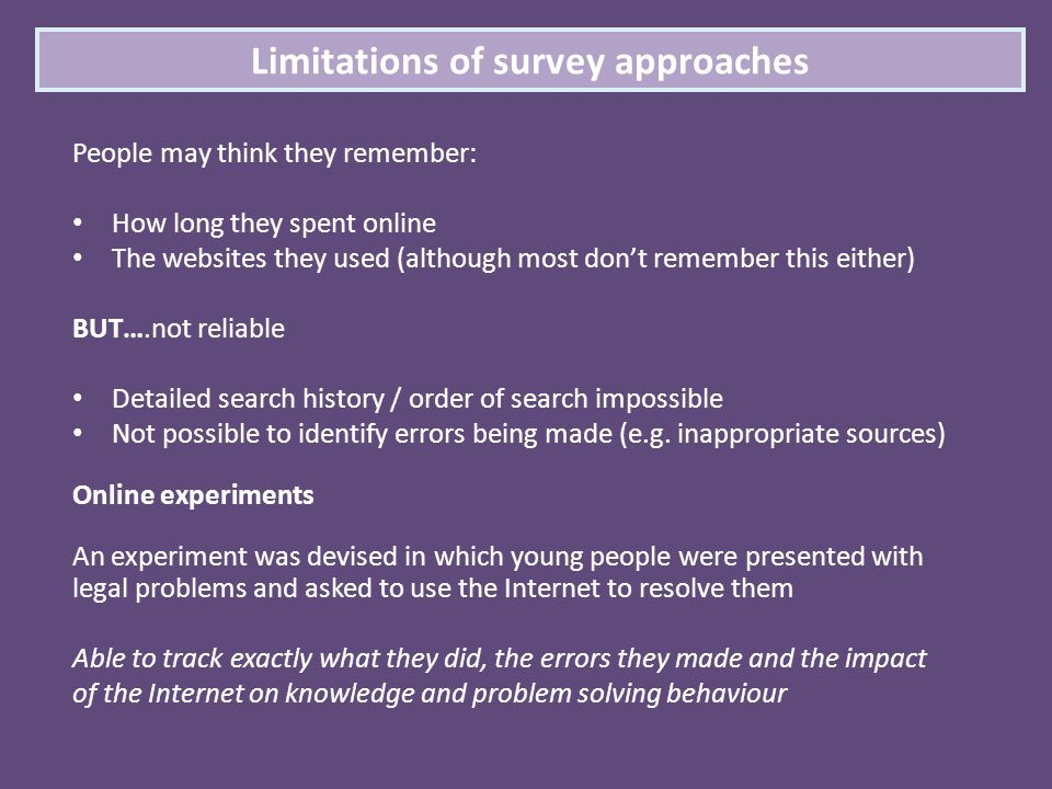 Limitations of survey approaches People may think they remember: How long they spent online The websites they used (although most don't remember this