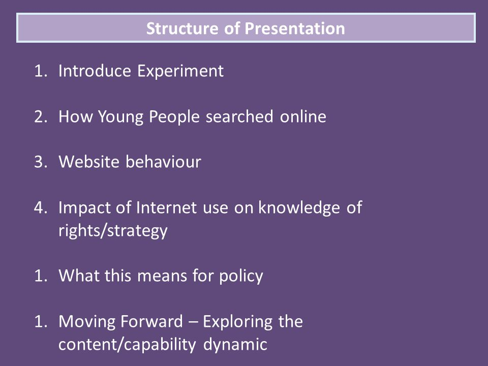 Structure of Presentation 1.Introduce Experiment 2.How Young People searched online 3.Website behaviour 4.Impact of Internet use on knowledge of right