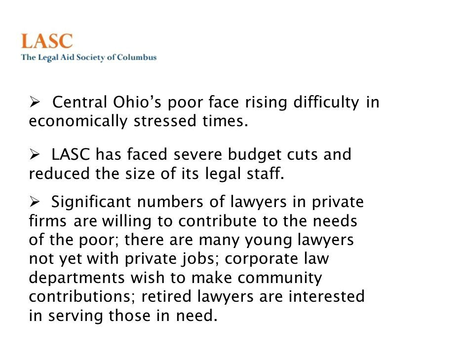  Central Ohio's poor face rising difficulty in economically stressed times.
