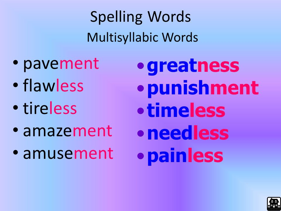 Spelling Words Multisyllabic Words pavement flawless tireless amazement amusement greatness punishment timeless needless painless