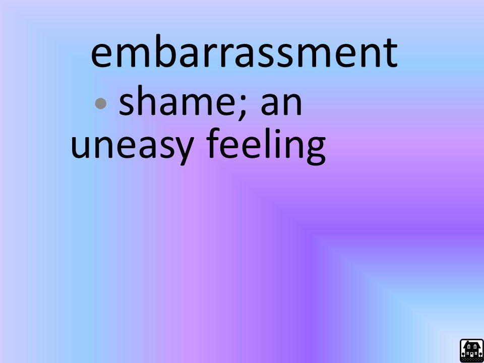 embarrassment shame; an uneasy feeling