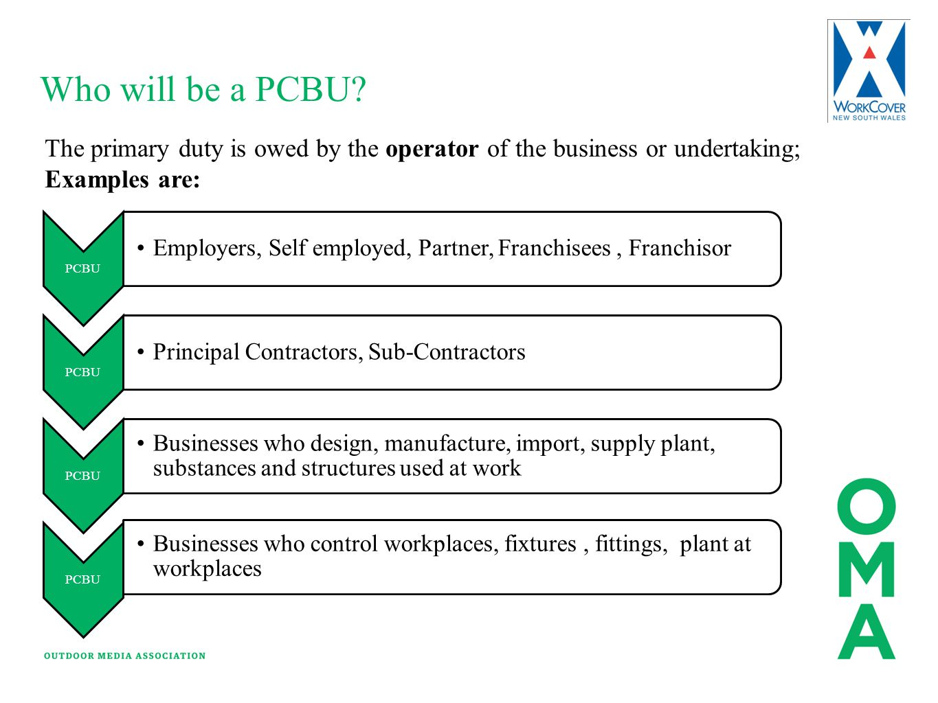 Who will be a PCBU? The primary duty is owed by the operator of the business or undertaking; Examples are: PCBU Employers, Self employed, Partner, Fra