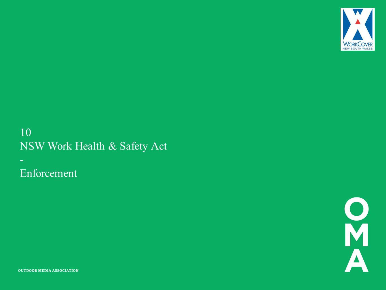10 NSW Work Health & Safety Act - Enforcement
