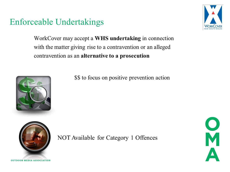 Enforceable Undertakings Penalty Notice Enforceable Undertaking Injunctions Remedial Prohibition Improvement Non Disturbance Action Notice WorkCover m