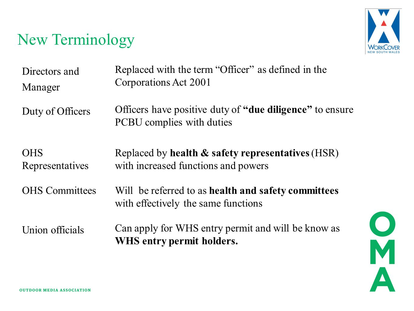 """New Terminology Directors and Manager Replaced with the term """"Officer"""" as defined in the Corporations Act 2001 Duty of Officers Officers have positive"""