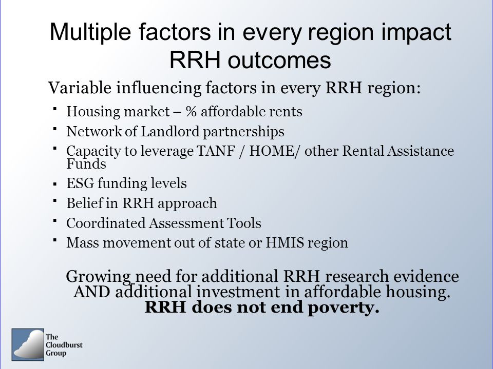 Multiple factors in every region impact RRH outcomes Variable influencing factors in every RRH region: Housing market – % affordable rents Network o