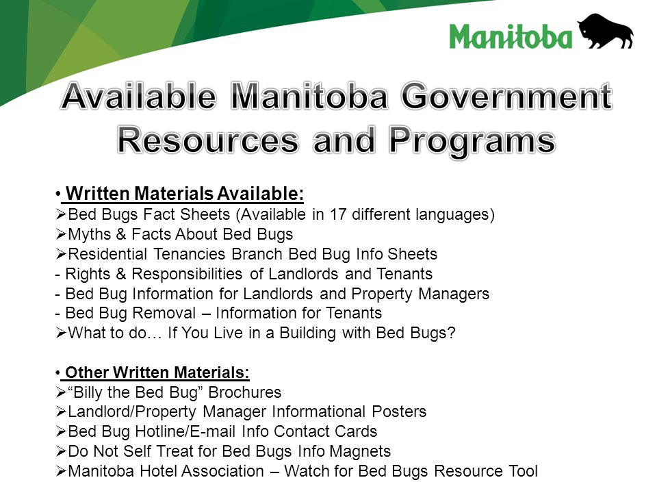 Written Materials Available:  Bed Bugs Fact Sheets (Available in 17 different languages)  Myths & Facts About Bed Bugs  Residential Tenancies Branch Bed Bug Info Sheets - Rights & Responsibilities of Landlords and Tenants - Bed Bug Information for Landlords and Property Managers - Bed Bug Removal – Information for Tenants  What to do… If You Live in a Building with Bed Bugs.