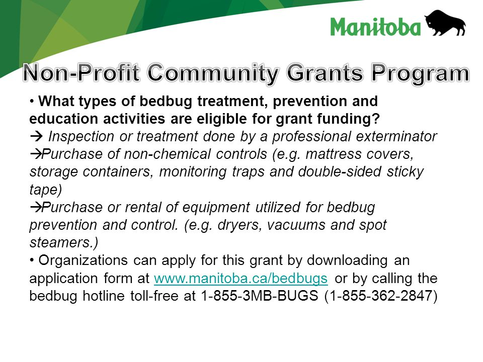 What types of bedbug treatment, prevention and education activities are eligible for grant funding?  Inspection or treatment done by a professional e