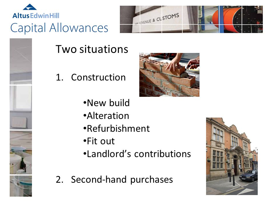 New construction claims Based on actual costs – quote or final account Drawings - before and after construction Specification – scope of works Variations – adds and omits Survey Identify builders work in connection Base cost asset plus prelims and fees Total value each fixture