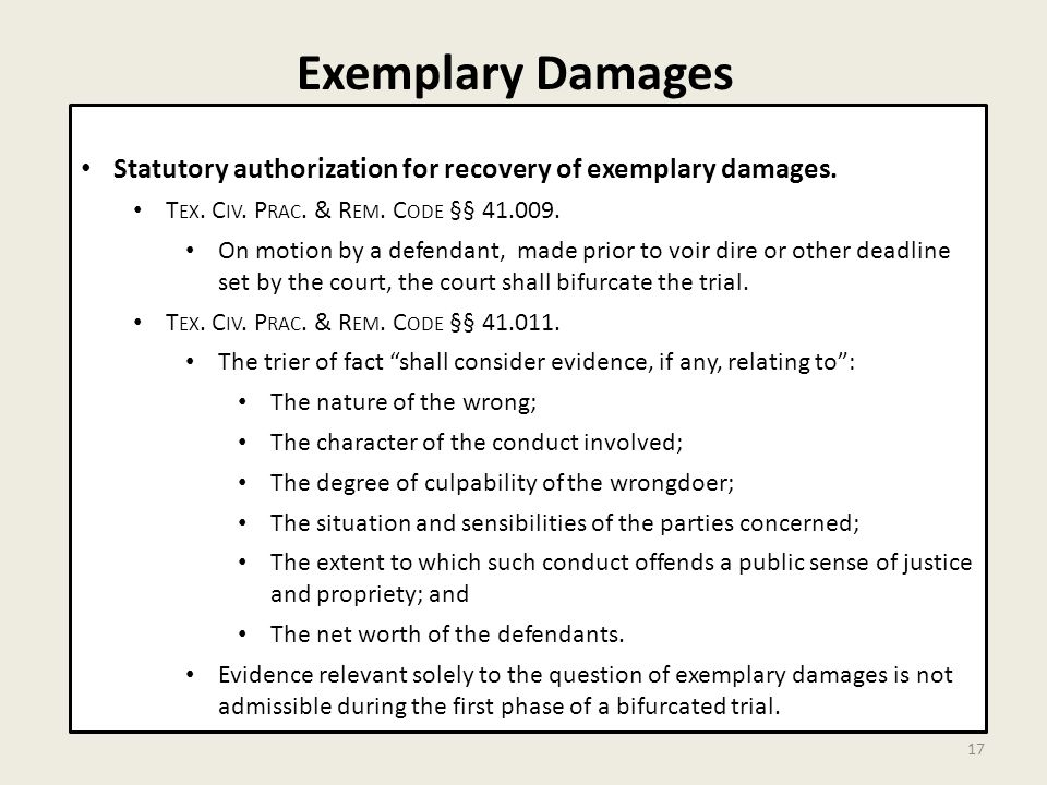 Exemplary Damages 17 Statutory authorization for recovery of exemplary damages.