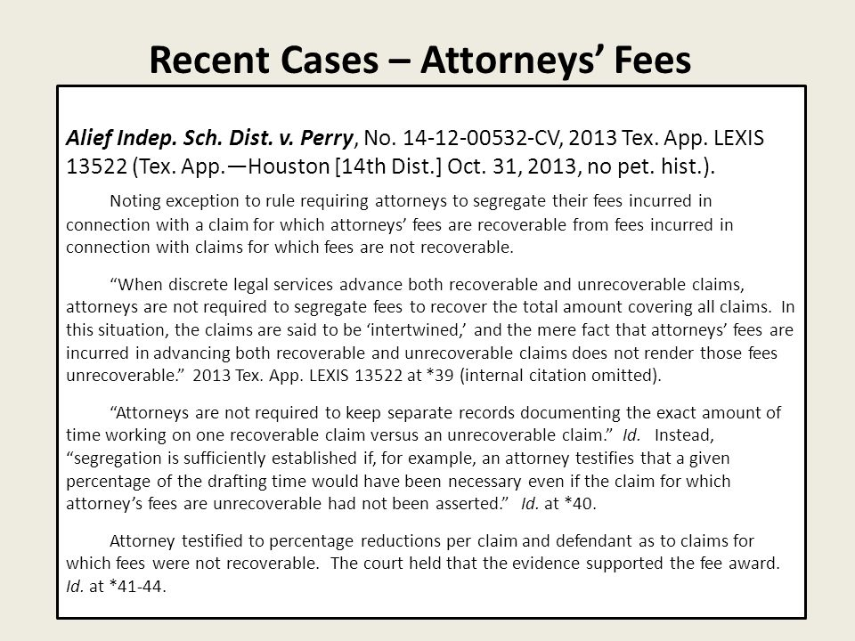 Recent Cases – Attorneys' Fees 28 Alief Indep. Sch.