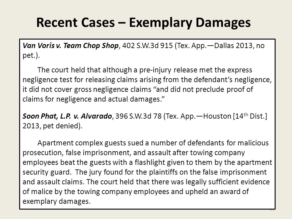 Recent Cases – Exemplary Damages 31 Van Voris v. Team Chop Shop, 402 S.W.3d 915 (Tex.