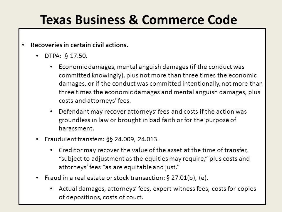 Texas Business & Commerce Code 7 Recoveries in certain civil actions.