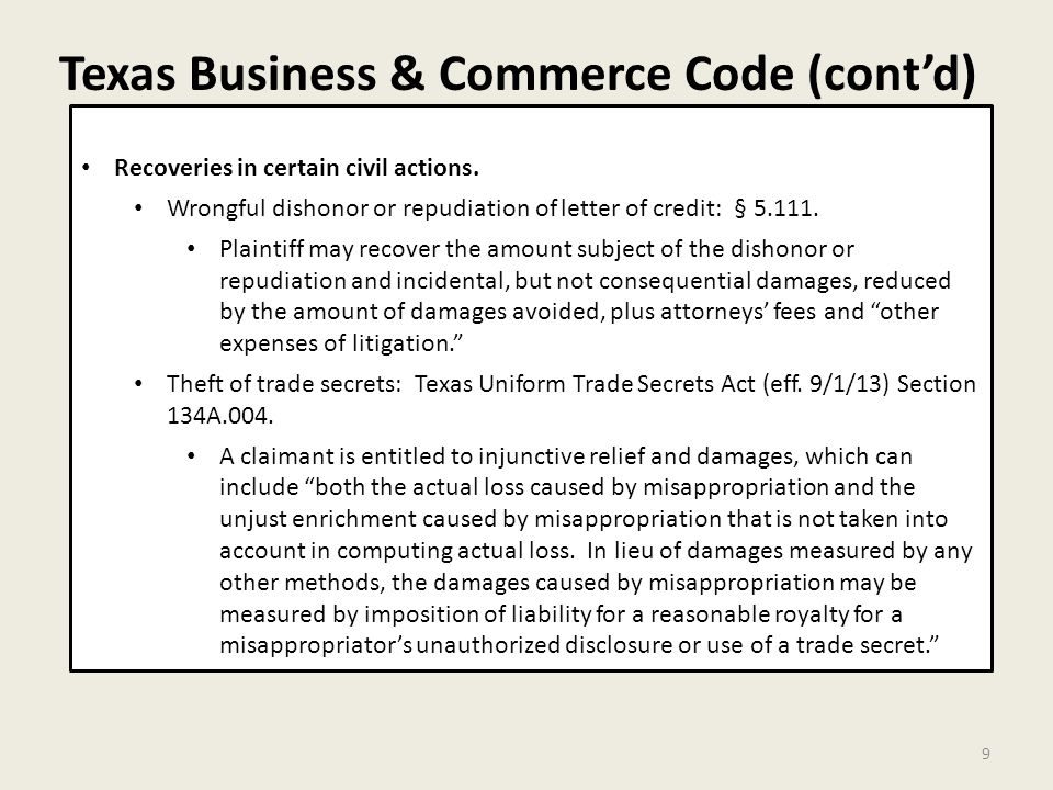 Texas Business & Commerce Code (cont'd) 9 Recoveries in certain civil actions.