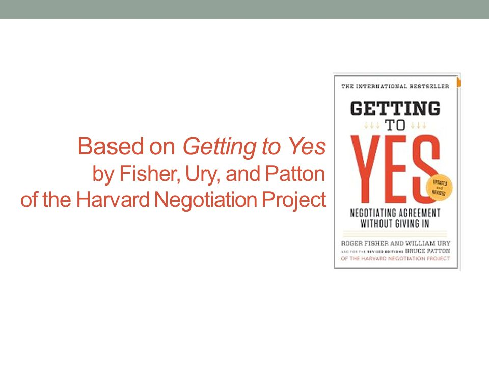 Based on Getting to Yes by Fisher, Ury, and Patton of the Harvard Negotiation Project