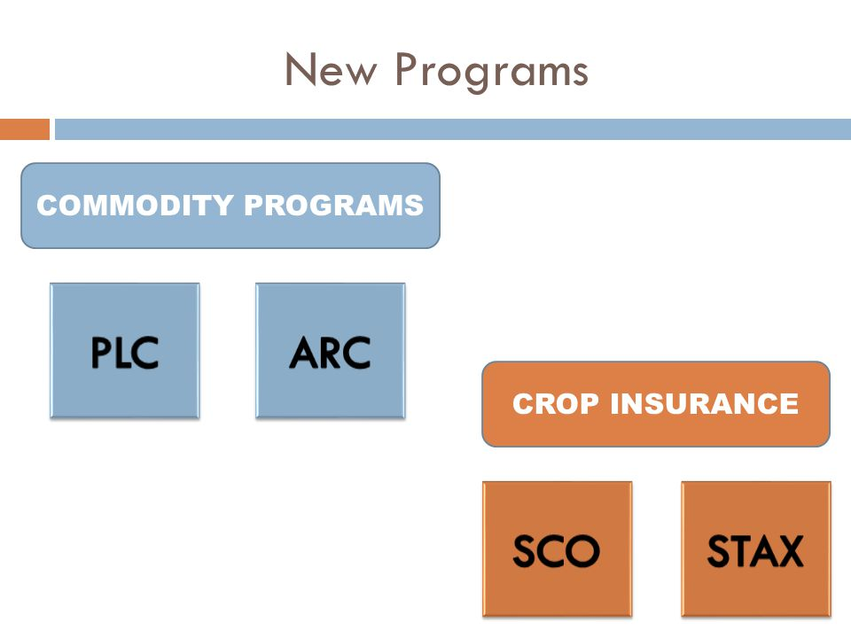 New Programs CROP INSURANCE COMMODITY PROGRAMS