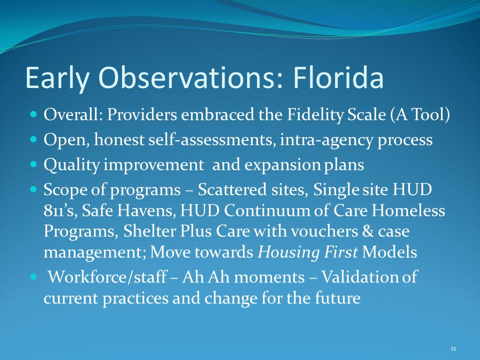 Early Observations: Florida Overall: Providers embraced the Fidelity Scale (A Tool) Open, honest self-assessments, intra-agency process Quality improvement and expansion plans Scope of programs – Scattered sites, Single site HUD 811's, Safe Havens, HUD Continuum of Care Homeless Programs, Shelter Plus Care with vouchers & case management; Move towards Housing First Models Workforce/staff – Ah Ah moments – Validation of current practices and change for the future 11