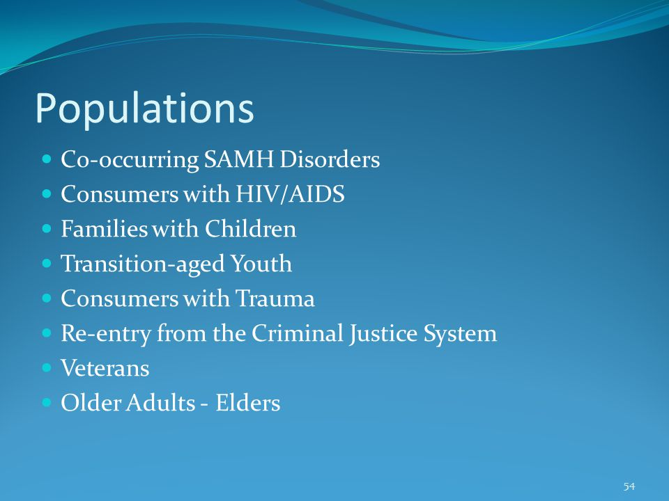 Populations Co-occurring SAMH Disorders Consumers with HIV/AIDS Families with Children Transition-aged Youth Consumers with Trauma Re-entry from the Criminal Justice System Veterans Older Adults - Elders 54