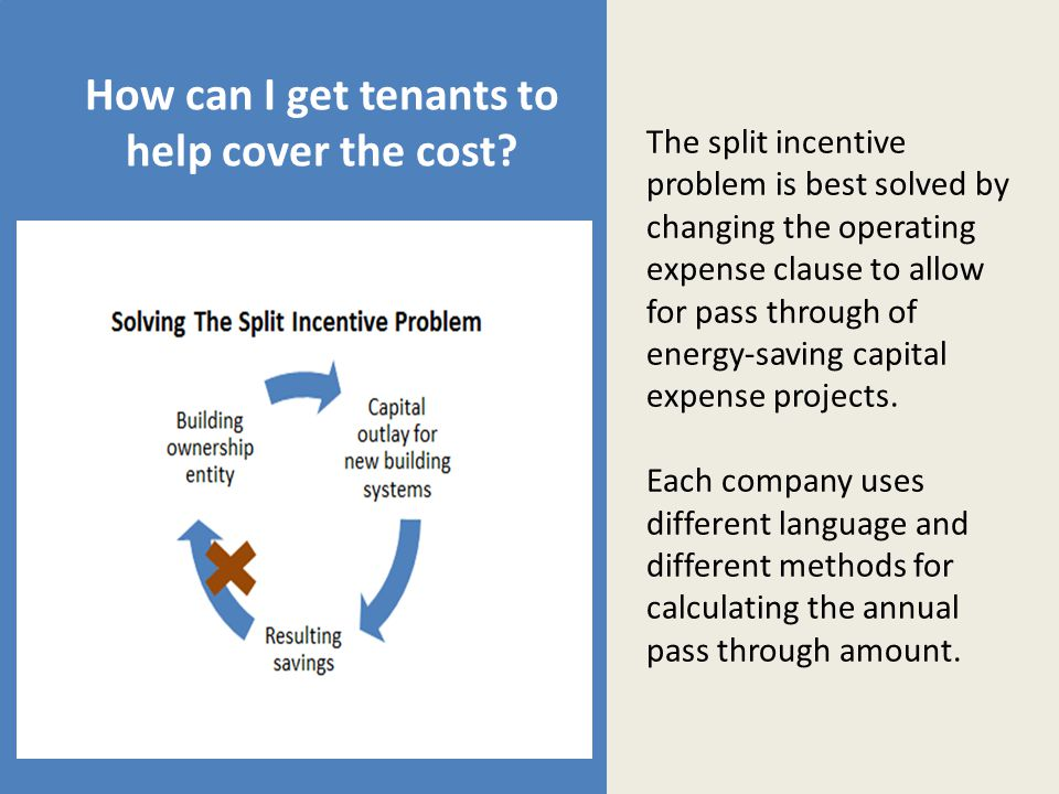 How can I get tenants to help cover the cost.