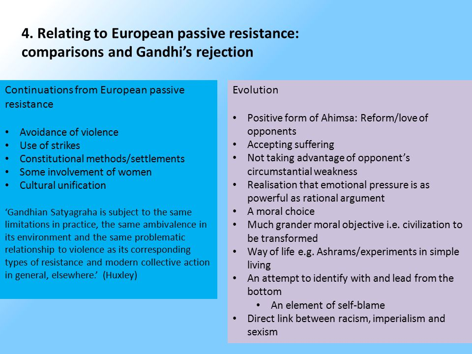 4. Relating to European passive resistance: comparisons and Gandhi's rejection Continuations from European passive resistance Avoidance of violence Us