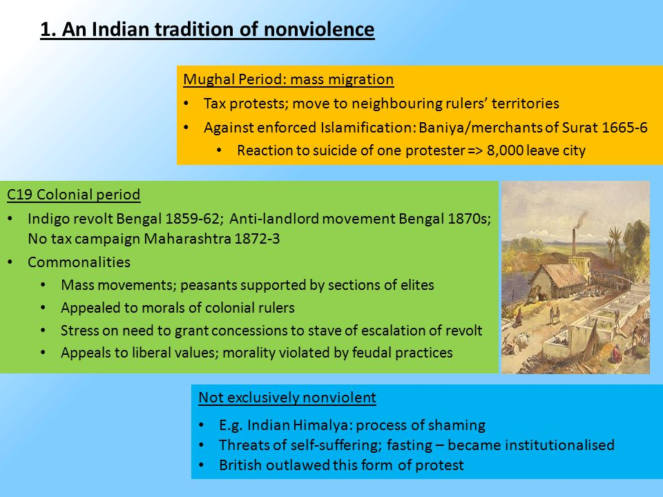 1. An Indian tradition of nonviolence Mughal Period: mass migration Tax protests; move to neighbouring rulers' territories Against enforced Islamifica