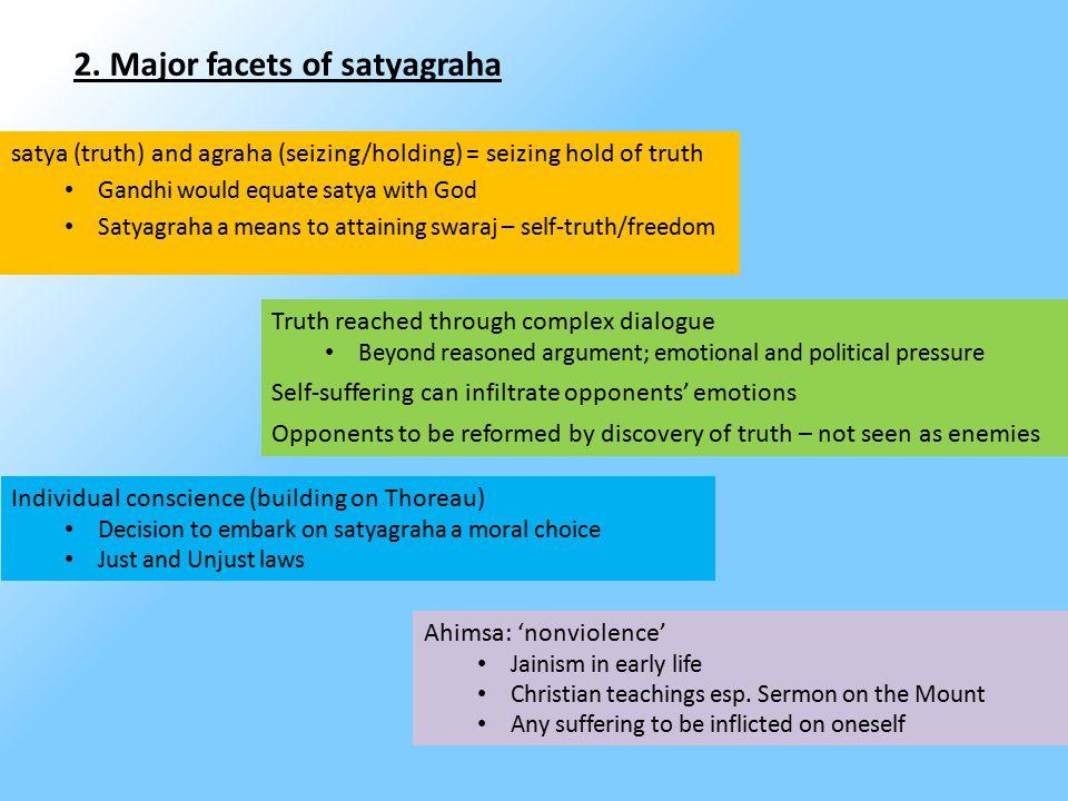 2. Major facets of satyagraha satya (truth) and agraha (seizing/holding) = seizing hold of truth Gandhi would equate satya with God Satyagraha a means