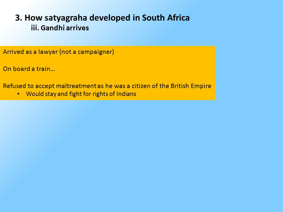 3. How satyagraha developed in South Africa iii.