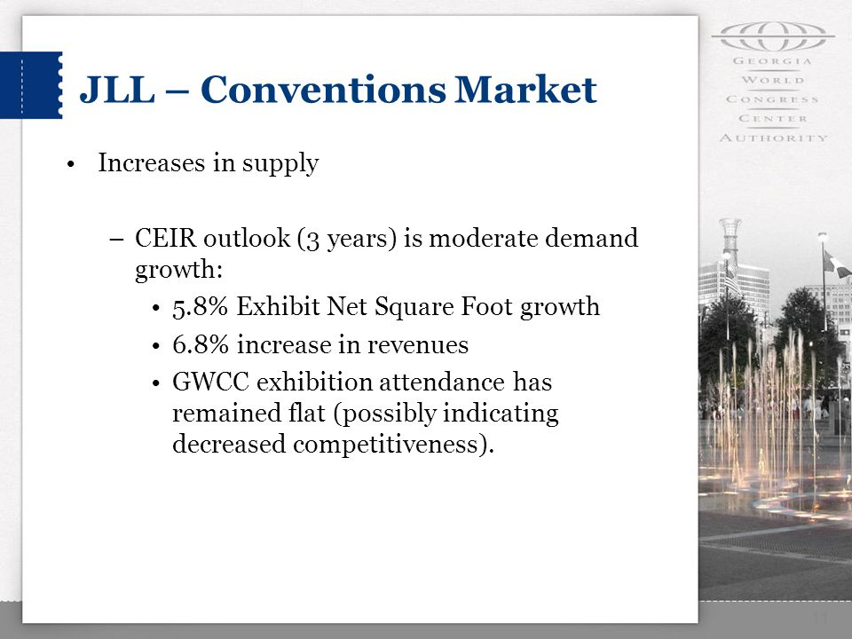 JLL – Conventions Market Increases in supply –CEIR outlook (3 years) is moderate demand growth: 5.8% Exhibit Net Square Foot growth 6.8% increase in revenues GWCC exhibition attendance has remained flat (possibly indicating decreased competitiveness).