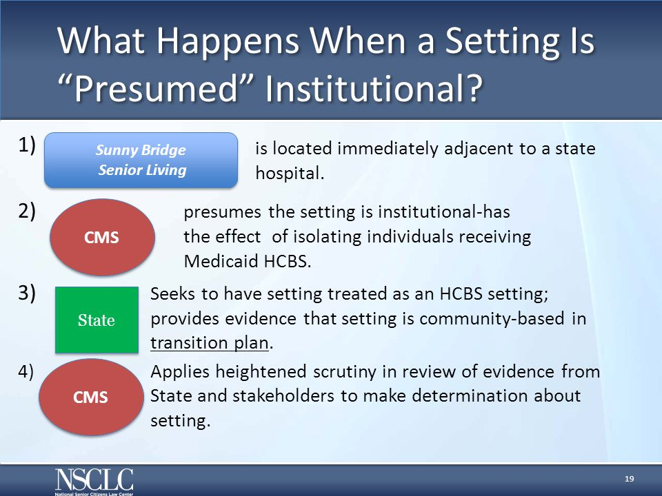 """What Happens When a Setting Is """"Presumed"""" Institutional? 1) 2) presumes the setting is institutional-has the effect of isolating individuals receiving"""