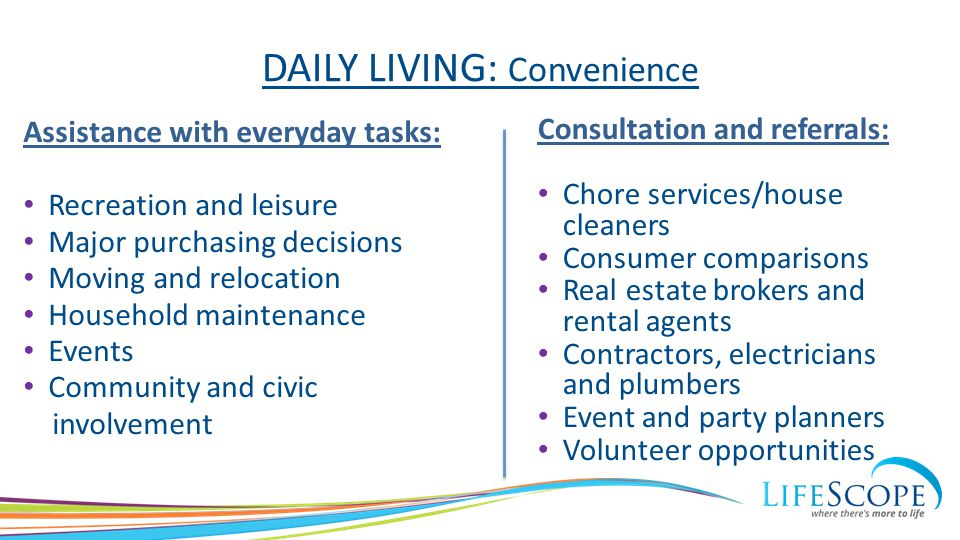 DAILY LIVING: Convenience Assistance with everyday tasks: Recreation and leisure Major purchasing decisions Moving and relocation Household maintenanc