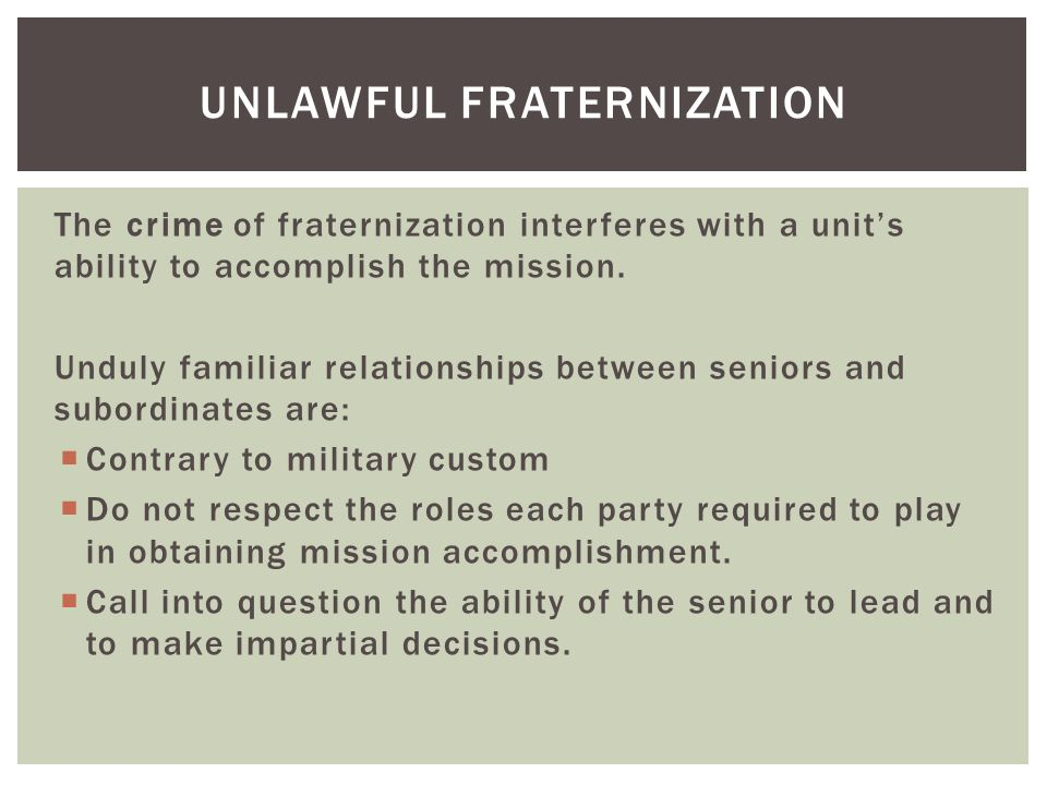 Actual or apparent preferential treatment will destroy a unit by:  Compromising the chain of command by an erosion of respect for the senior leaders; and  By creating the appearance of favoritism, which in turn destroys morale.