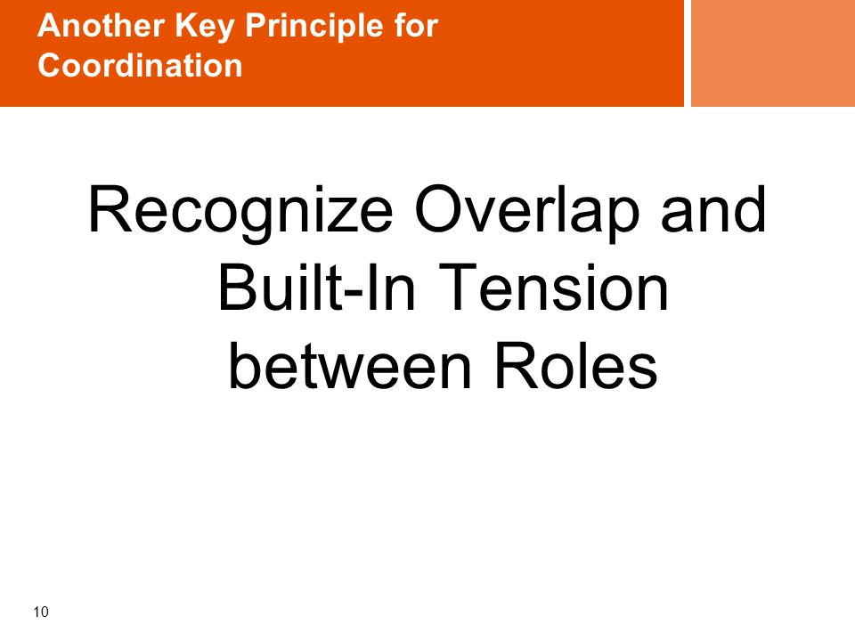 10 Another Key Principle for Coordination Recognize Overlap and Built-In Tension between Roles