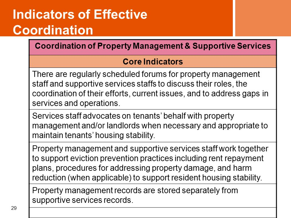 29 Indicators of Effective Coordination Coordination of Property Management & Supportive Services Core Indicators There are regularly scheduled forums for property management staff and supportive services staffs to discuss their roles, the coordination of their efforts, current issues, and to address gaps in services and operations.