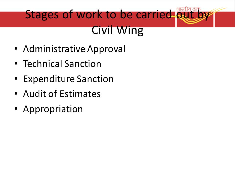 Stages of work to be carried out by Civil Wing Administrative Approval Technical Sanction Expenditure Sanction Audit of Estimates Appropriation