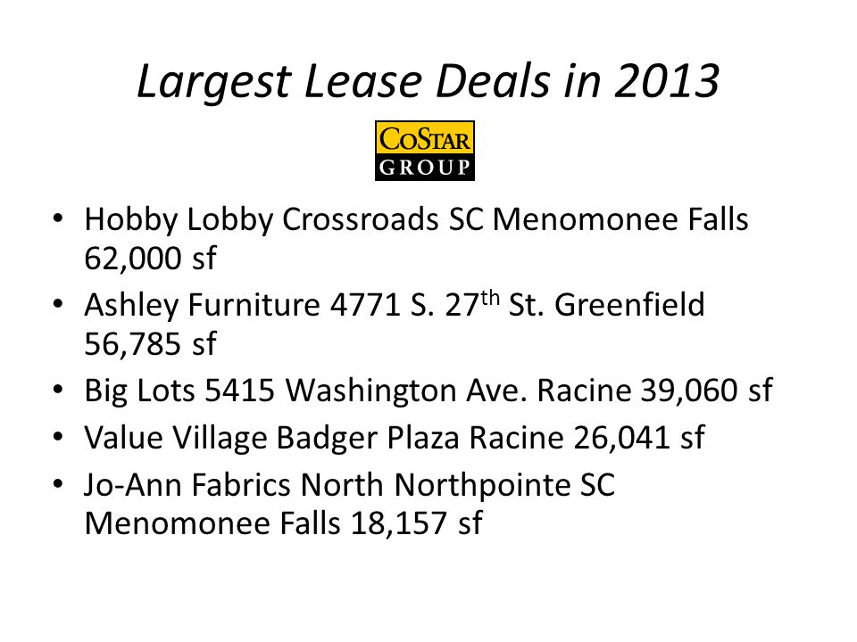 Largest Lease Deals in 2013 Hobby Lobby Crossroads SC Menomonee Falls 62,000 sf Ashley Furniture 4771 S.