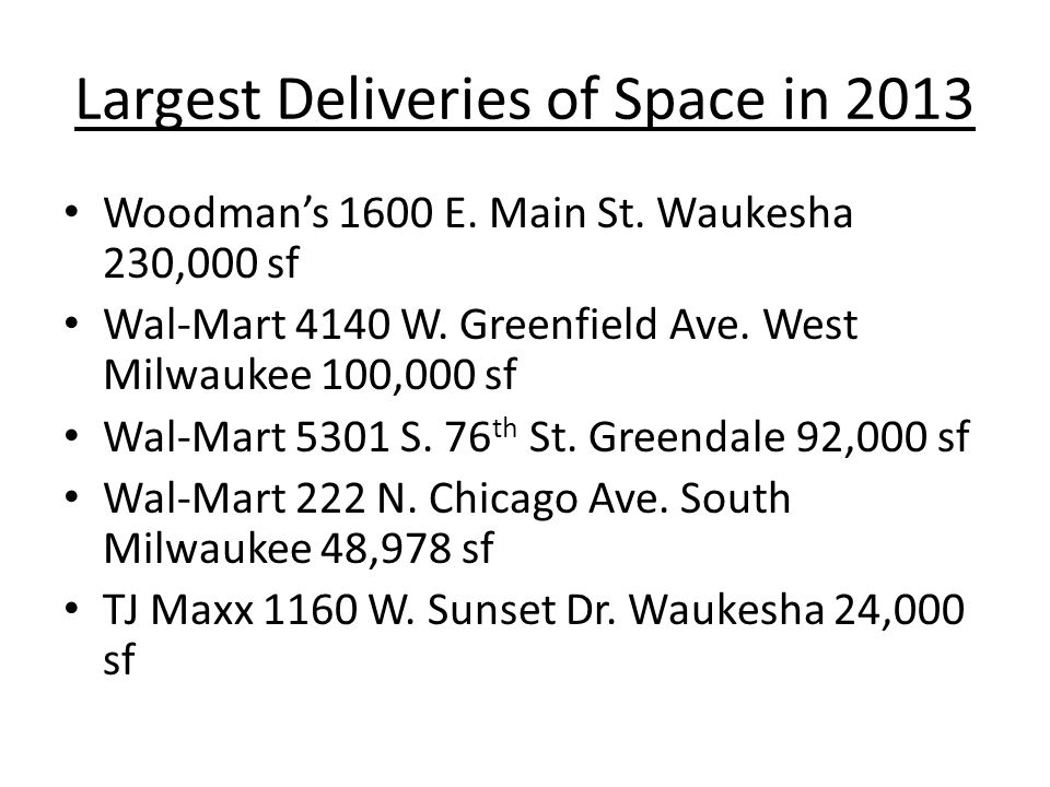 Largest Deliveries of Space in 2013 Woodman's 1600 E.