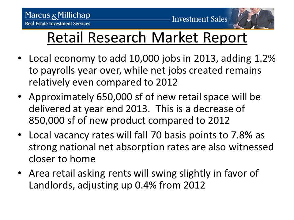 Retail Research Market Report Local economy to add 10,000 jobs in 2013, adding 1.2% to payrolls year over, while net jobs created remains relatively even compared to 2012 Approximately 650,000 sf of new retail space will be delivered at year end 2013.