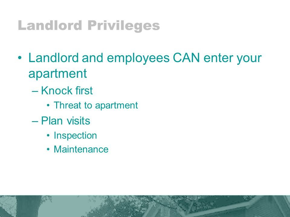 Landlord Privileges Landlord and employees CAN enter your apartment –Knock first Threat to apartment –Plan visits Inspection Maintenance