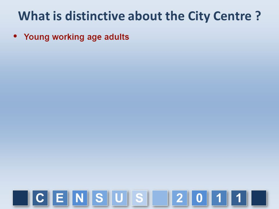 What is distinctive about the City Centre ?  Young working age adults C C E E N N S S U U 1 1 1 1 0 0 2 2 S S