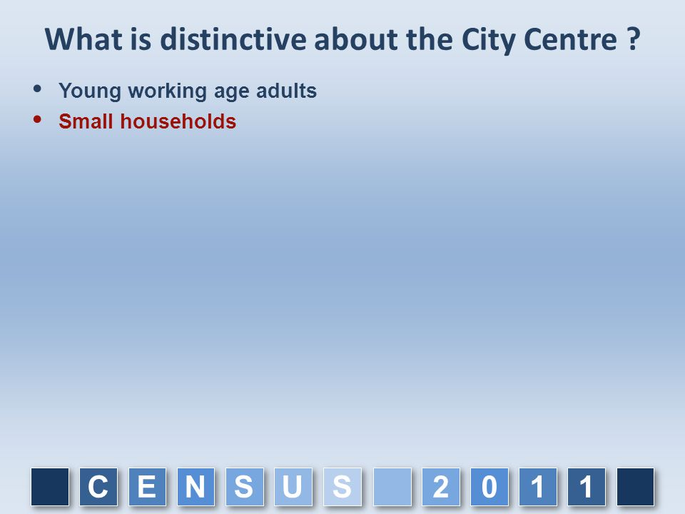 What is distinctive about the City Centre ?  Young working age adults  Small households C C E E N N S S U U 1 1 1 1 0 0 2 2 S S