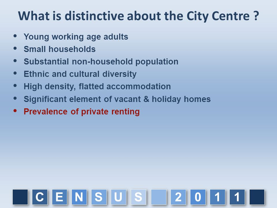 What is distinctive about the City Centre ?  Young working age adults  Small households  Substantial non-household population  Ethnic and cultural
