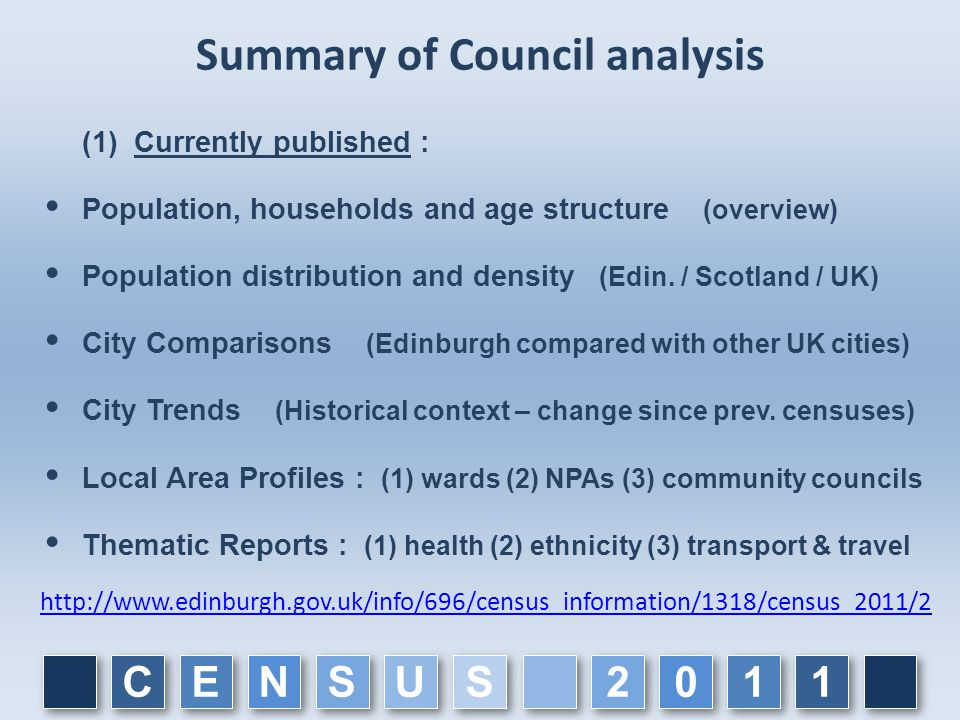 Summary of Council analysis (1) Currently published :  Population, households and age structure (overview)  Population distribution and density (Edin.