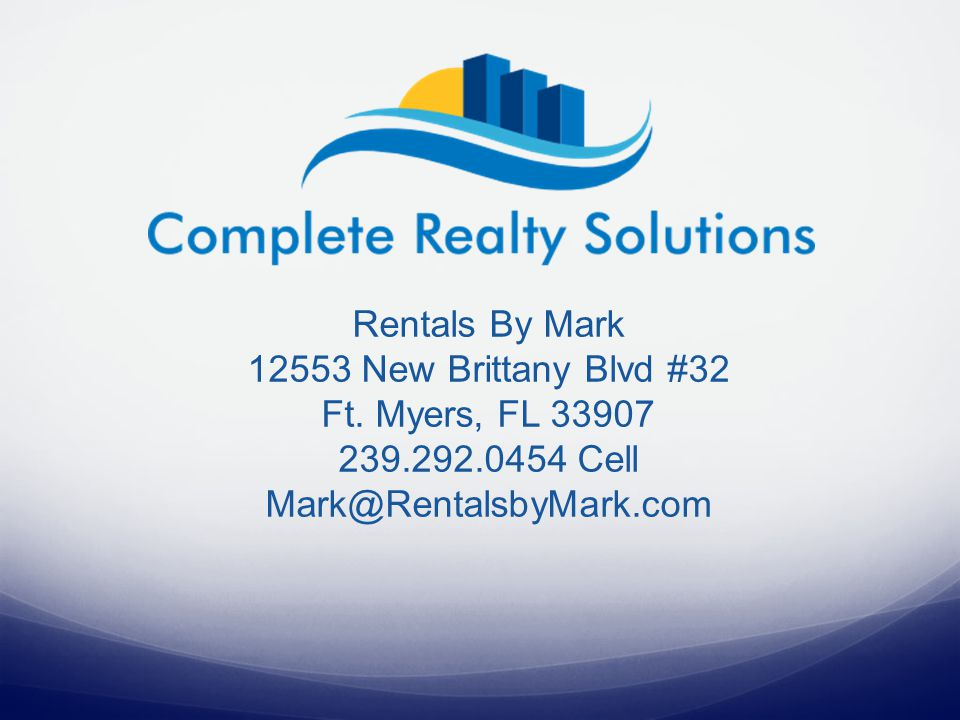 Rentals By Mark 12553 New Brittany Blvd #32 Ft.