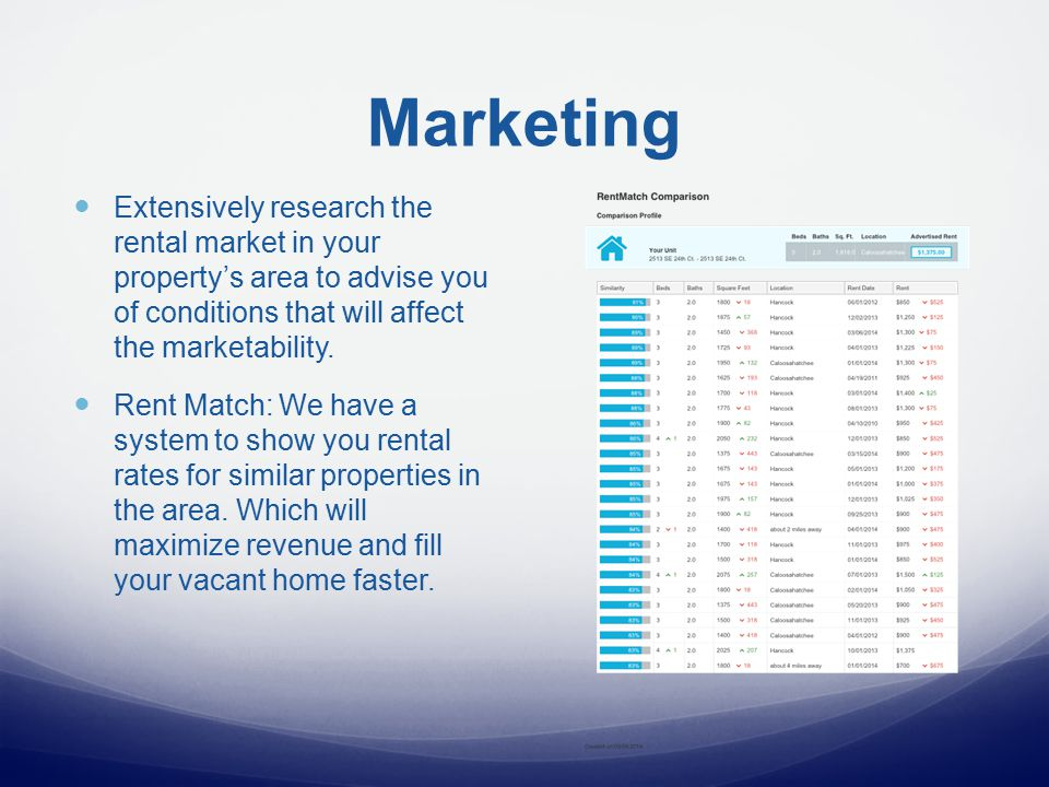 Marketing Extensively research the rental market in your property's area to advise you of conditions that will affect the marketability.