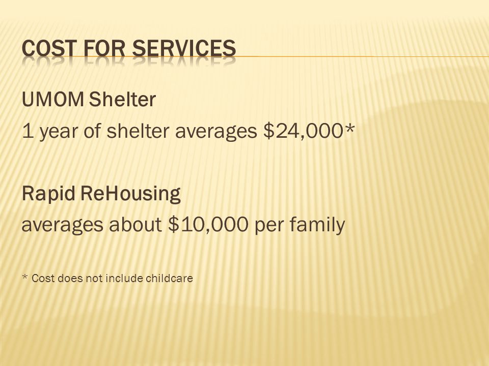 UMOM Shelter 1 year of shelter averages $24,000* Rapid ReHousing averages about $10,000 per family * Cost does not include childcare